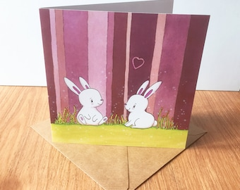 Happy Bunnies Greeting Card - Birthday, Easter, Mother's Day, Wedding, Engagement, Love, Anniversary, Good Luck, Rabbit, Bunny
