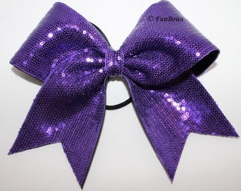 PURPLE Sequin Cheer Allstar Hairbow  - WOW- Glamour