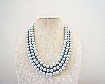 Matte Silver Beaded Necklace