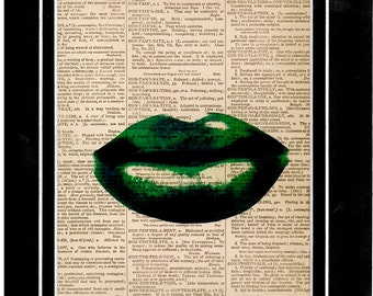 99 Dictionary Green Lip Art