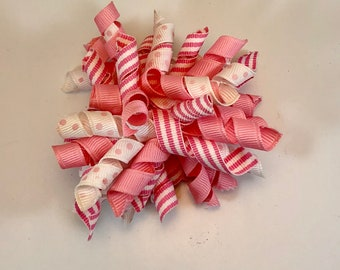 Pink and White Korker Hair Bow