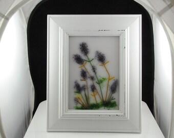 "8"" x 10"" framed fused glass lavender flowers"
