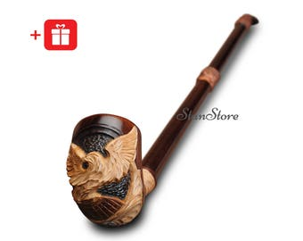 Extra LONG Smoking Pipe Eagle Tobacco Pipe Wooden Pipe Long Stem Pipe Smoking Bowl HAND CARVED Wedding Groomsmen Gift Ideas Custom Engraving