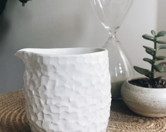 White Faceted Jug