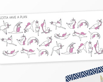 Planner Stickers Yoga 2.0, Stretching, Exercise Eunice The Unicorn Sticker for Erin Condren, Happy Planner, Filofax, Scrapbooking