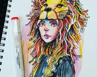 Luna Lovegood Supporting Gryffindor Watercolot
