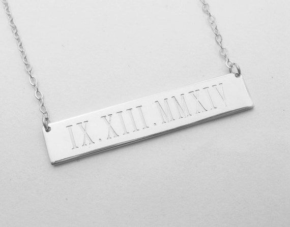 initial roman media bar date monogram wedding sterling numeral gold engraved horizontal nameplate name personalized necklace