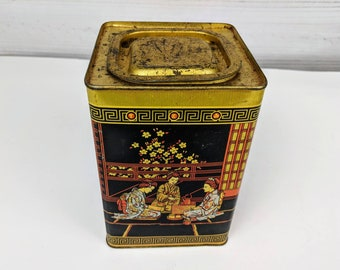 Vintage Tea Tin Can Container Empty Box with Asian Graphics Made in England