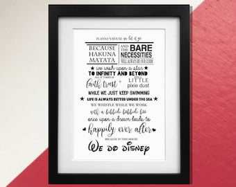 "Disney's ""In this house"" Family Rules quote print Poster or gift card"