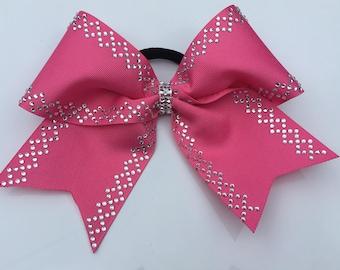Rhinestone Breast Cancer Cheer Hairbow
