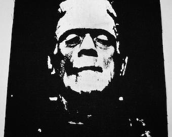 "Frankenstein (1931) 9x12"" Boris Karloff Patch Print/ Tapestry/ Handmade Screen Print"
