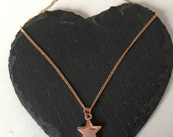 Handmade sterling silver rose gold plated star charm necklace