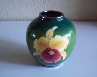 Vintage Japanese Shippo  Fuji Clos Vase Vibrant Floral Design Yellow Green Cloisonne Original Sticker FujiClos China Company 1960's