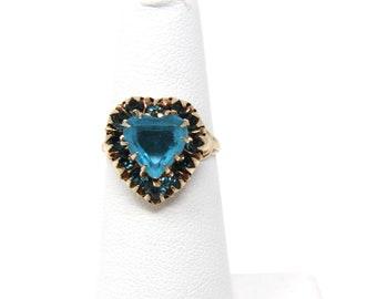 Vintage Blue Topaz Heart Ring, 10K Gold, PSCO Co, Size 5