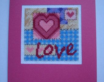 "Love Card / Anniversary Card / Pink Heart Stuff / Valentine's Card / Pink Romantic Handmade Cross-Stitched Postcard ""Love"" by Durene Jones"