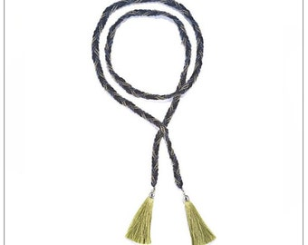 Beaded Tassel Lariat Necklace