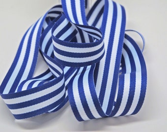 Grosrain Horizontal Stripe Ribbon -- 7/8 inch -- Royal Blue White