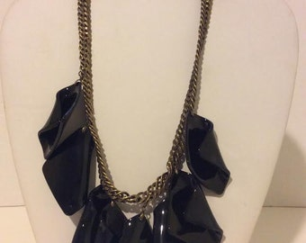 Black resin short chunky link necklace on a bronze chain
