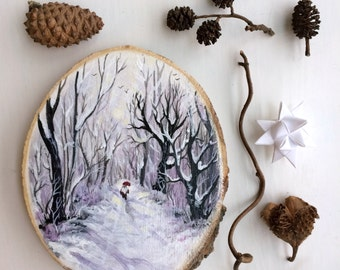 Original Art: Hand painted wood slice with winter landscape and gnome, nisse, tomte. Xmas, jul, christmas, Scandinavia, snow, woodland