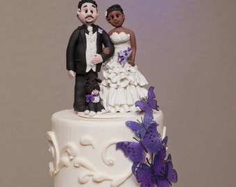 Custom wedding cake topper, personalized cake topper, Bride and groom cake topper, Mr and Mrs cake topper Interracial cake topper