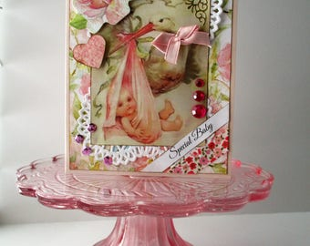 Handmade Card New Baby Girl - Welcome Baby Card - Vintage-style Baby Card - Victorian stork
