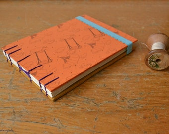 Night Circus Travel Sketchbook /  A6 Hand Bound Coptic Bullet Journal / orange and light blue notebook