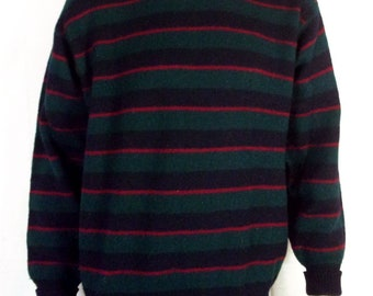 vtg 50s 60s Brooks Brothers Green Blue Red Striped Shetland Wool Sweater crew 46