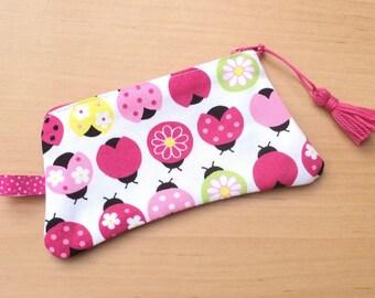 Ladybugs with tassel purse