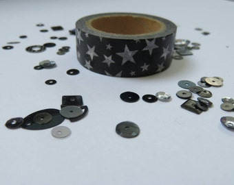 Black and white star washi tape 10m