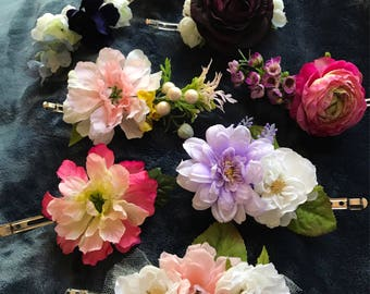 Handmade, realistic-looking floral clips