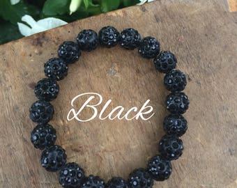 Rustic Shamballa Beaded Bracelet- BLACK