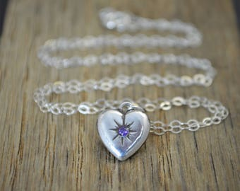 Silver Heart Necklace, Amethyst Mothers Necklace, Amethyst Necklace, Dainty Heart Necklace, Mothers Amethyst Necklace, February Birthstone