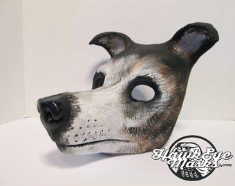 Greyhound, dog costume mask, sculpture, animal art, cute dog mask, masquerade, custom painted pet costume mask, made to order