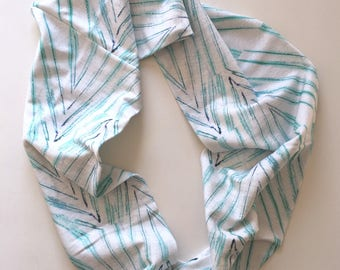 Organic Cotton Infinity Scarf Palm Leaves