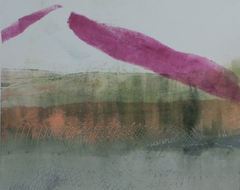 Think Pink 1, Monotype, 30 x 40 cm, original image, special gift, wall decoration, optional with frame