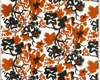 Printsville USA large abstract sketchy floral print brown black off-white barkcloth textured clothing fabric hawaiian-esque
