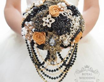Bridal Bouquet Black Brooch Bouquet Bridesmaids Bouquet Wedding Bouquet Black Gold Bouquet Broach Bouquet Rhinestone Bouquet Jewelry Bouquet