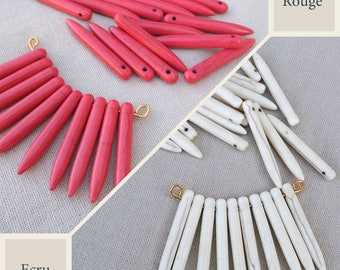 10 ex 35mm cream white or red howlite stone spikes/pics