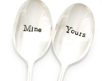 Yours and Mine, My and Your Ice Cream hand stamped spoons.