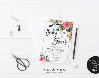 Baby Shower Invitation | Editable Baby Shower Template | DIY Instant Download Watercolor Floral Baby Shower Invitation | MAM106_I