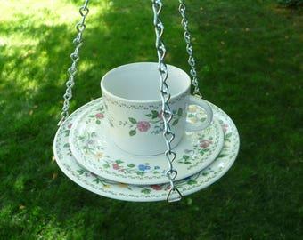 Cup, Saucer, Plate Bird Feeder, English Garden