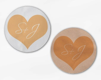 Initials in Heart Wedding Favor Stickers - Peach Custom White Or Kraft Round Labels for Bag Seals, Envelopes, Mason Jars (2006)
