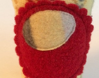 Coffee Cardi - cup cozy sleeve of felted wool sweaters in yellow with red flower