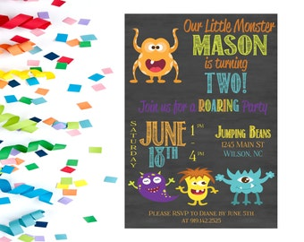 Lil Monster Birthday Party Invitation, Birthday Party Invitation, Birthday Party Invite, Printable Birthday Party Invitation, Birthday