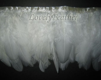 Coque feather fringe of ivory color 10 yards trim