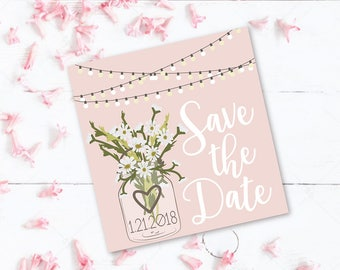 Floral Mason Jar Save The Date Wedding Save the Date