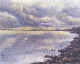 """Stormy Sky Lake Art Watercolor Original Painting by Cathy Hillegas, 7.4""""x11.25"""", original watercolor landscape, lake house decor, blue, pur"""