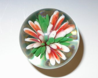 Glass Floral Marble, Implosion, Red and White - flamework, lampwork, borosilicate