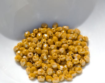 Luster Goldenrod 4mm Faceted Fire Polish Round Czech Glass Beads  50