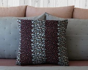 Flower Stripes Pillow Case - Multicolored Floral Pillow Cover - Polyester Pillow Cover - Throw Pillow Cover - Decorative Pillow Case